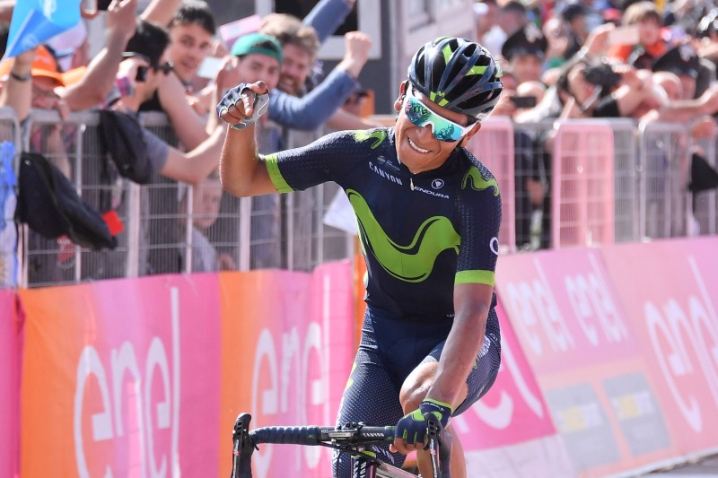 May 14, 2017: QUINTANA SOLOS TO WIN STAGE 9 OF THE GIRO D'ITALIA AND TAKES THE MAGLIA ROSA