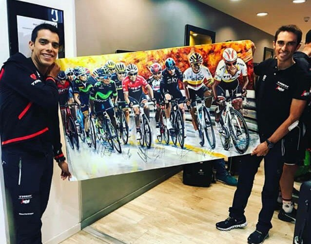 Instagram: #OnlineAuction @acontadoroficial might be running his last race in @lavueltaaespana 2017, but we've got this amazing souvenir to be auctioned by @fjpantano, signed by him and many of your favorite cyclists!